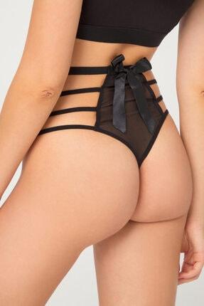 Cottonhill Siyah Transparan Lastik Detaylı Fiyonklu Kadın Bikini Külot 1