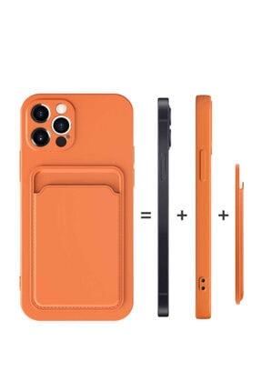 Fibaks Apple Iphone 12 Pro Max Kılıf Lansman Dokulu Kamera Korumalı Kartlıklı Kart Bölmeli Yumuşak Silikon 4