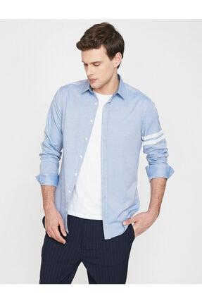Koton Erkek Mavi Klasik Yaka Uzun Kollu Çizgili Shirt 9YAM64052OW 1