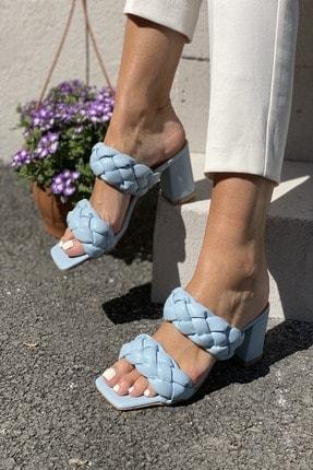 İnan Ayakkabı Kadın Mavi Önlü Arkalı Örgü Detaylı Terlik 3