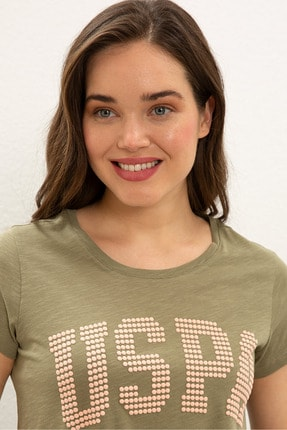 US Polo Assn Yesıl Kadın T-Shirt 1