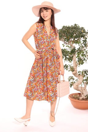 Kadın Turuncu Ekol Çiçekli Elbise 5008
