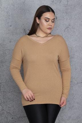 Şans Kadın Bej V Yakalı Uzun Kollu Bluz 65N24383 2