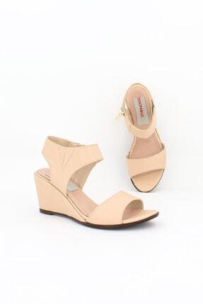 Deripabuc Hakiki Deri Bej Kadın Dolgu Topuklu Deri Sandalet Dp38-1130 1