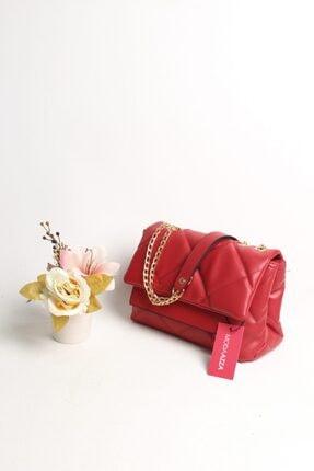 Moda azza Kadın Kırmızı Zincir Askılı Omuz Çantası 3