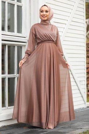 Tesettürlü Abiye Elbiseler - Vizon Tesettür Abiye Elbise 22202v ARM-22202|00205_Koyu Lila