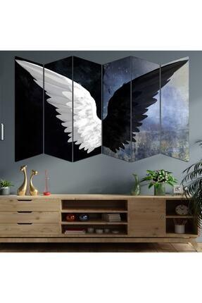 hanhomeart Siyah Beyaz Kanat 6 Parça Mdf Duvar Tablo Seti 1
