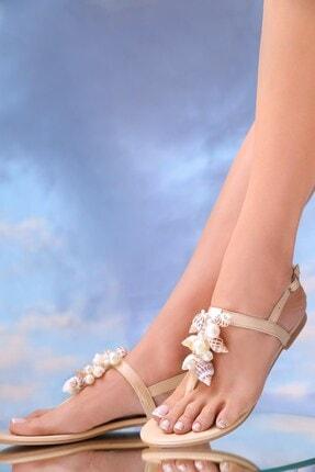 Oblavion Kadın Bej Hakiki Deri Günlük Taşlı Sandalet 3