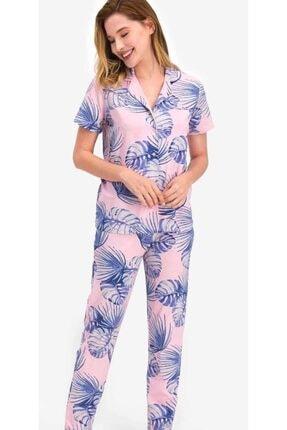 Picture of Kadın  Gömlek Yaka Kısa Kol Pijama Takım