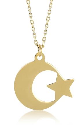 Gelin Pırlanta Gelin Diamond 14 Ayar Altın Ay Yıldız Kolye 0