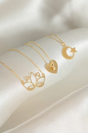 Gelin Pırlanta Gelin Diamond 14 Ayar Altın Ay Yıldız Kolye 3