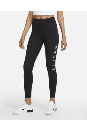 Nike Sportswear Swoosh Yüksek Belli Siyah Tayt 0