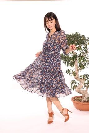 Ekol Şifon Çiçekli Elbise 5032