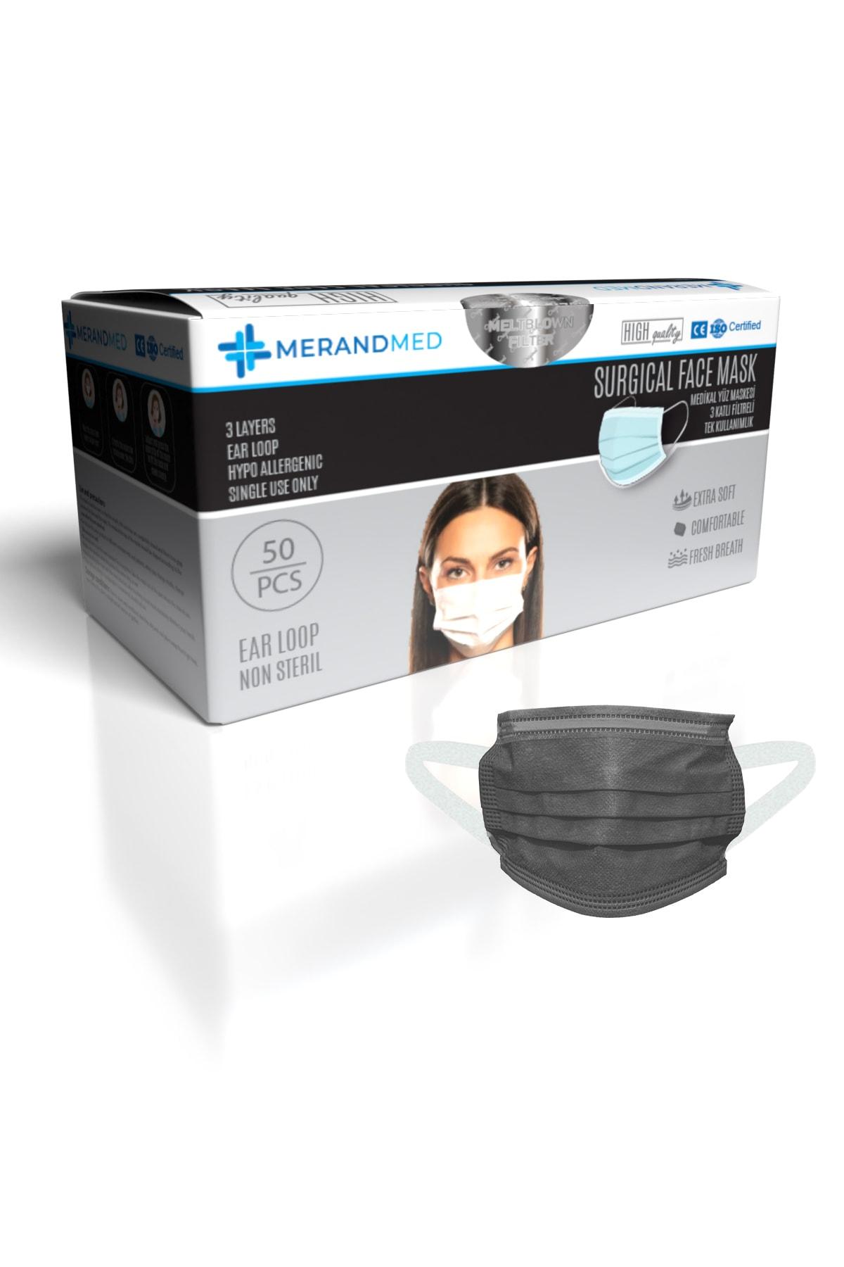 3 Katlı Meltblown-spoundbond Yeni Nesil Cerrahi Maske - 1 Kutu ( Kutu Içi 50 Adet ) - Siyah Renk