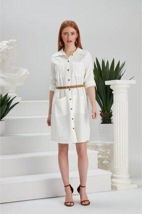 Kadın Beyaz Kemerli Keten Elbise 5024