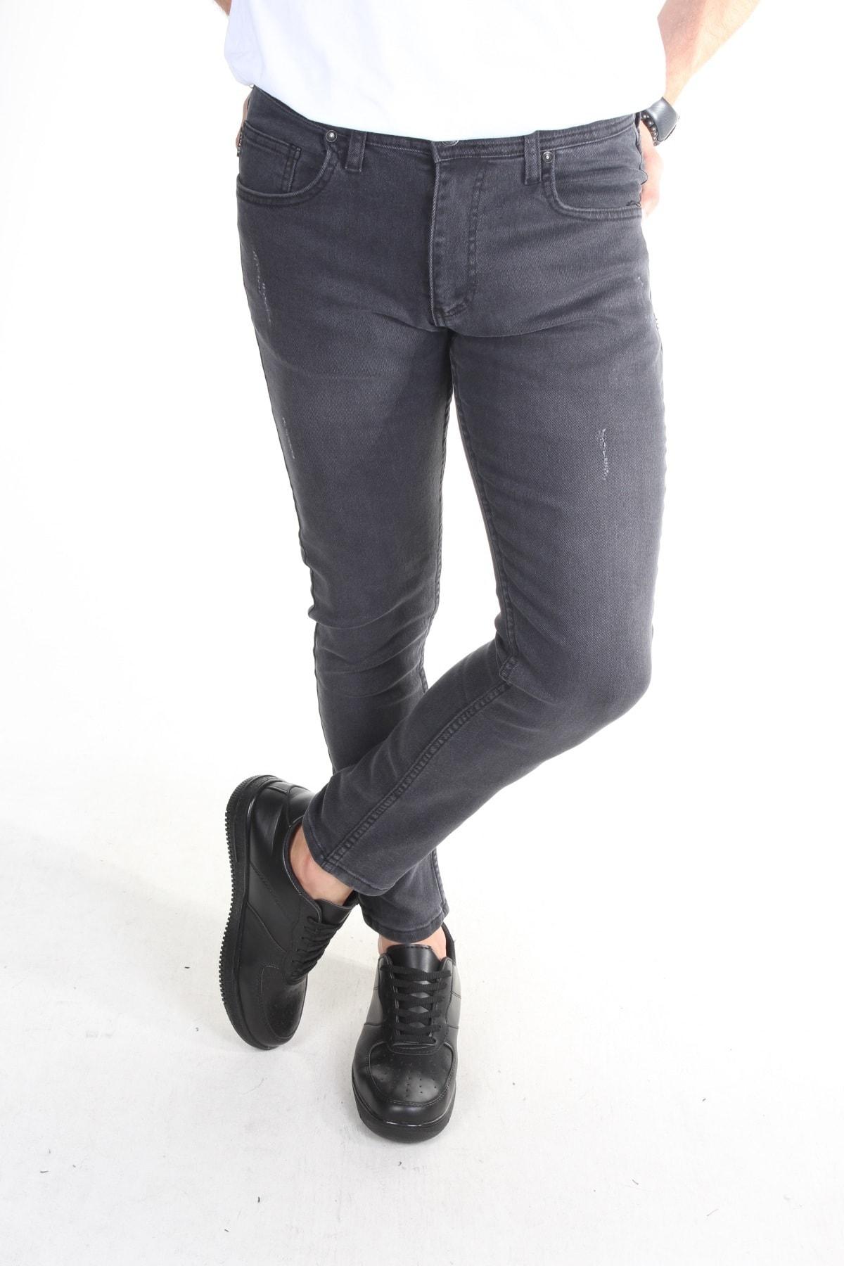 Erkek Antrasit Tırnaklı Slim-fit Likralı Dar Paça Kot Pantolon