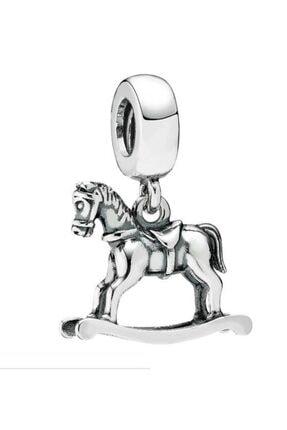 Charm Dünya Markalarına Sallantili Charm Sallanan At 925 Ayar Gümüş Charm S2