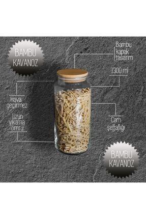 GÖNÜL 4'lü Bambu Kapaklı Cam Kavanoz 1300ml 1
