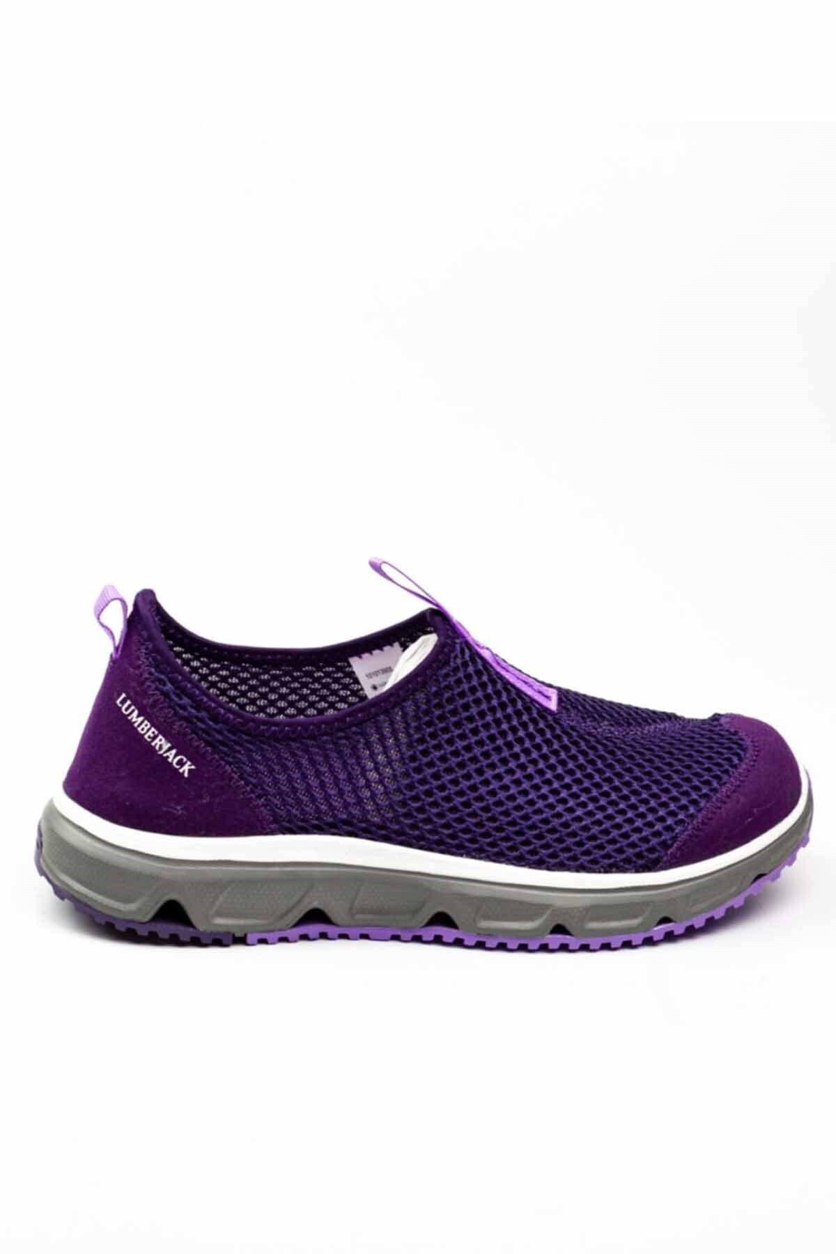 Kadın Mor Panto  Bağcıksız Babet Ayakkabı