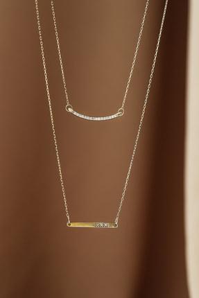 Gelin Pırlanta Kadın Altın  Diamond Pırlantalı Bar Kolye 14 Ayar 4