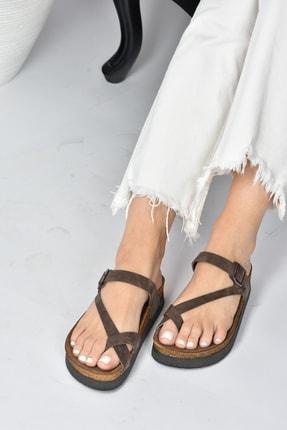 Fox Shoes Kadın  Kahverengi Süet Terlik B777753002 1