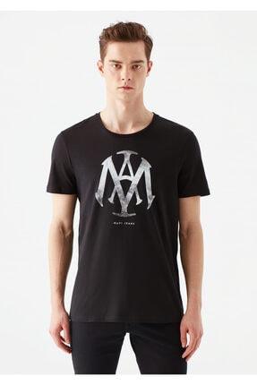 Mavi Mühür Logo Baskılı Siyah Tişört 2