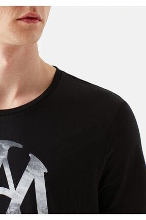 Mavi Mühür Logo Baskılı Siyah Tişört 4