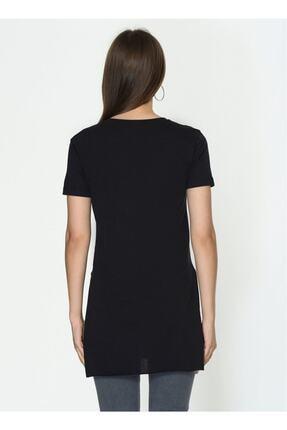 IŞILDA Kadın Siyah  Yanları Yırtmaçlı Kısa Kol Basic Tshirt 3