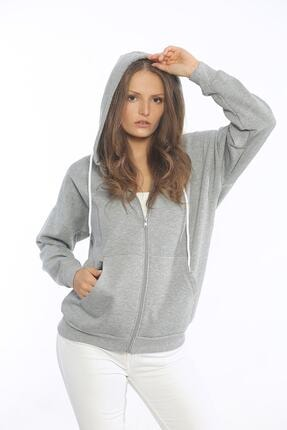 Be Happy Woman Kadın Gri Cepli Fermuarlı Sweatshirt 1
