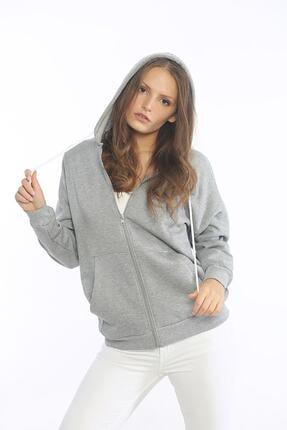Be Happy Woman Kadın Gri Cepli Fermuarlı Sweatshirt 2