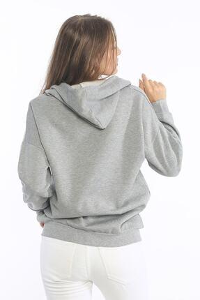 Be Happy Woman Kadın Gri Cepli Fermuarlı Sweatshirt 3