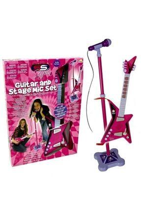 Sunman Karaoke Ayaklı Mikrofonlu Pembe Gitar 0