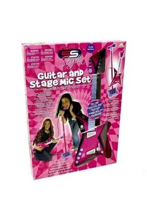 Sunman Karaoke Ayaklı Mikrofonlu Pembe Gitar 2