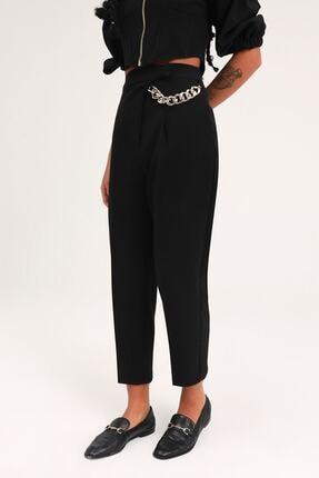 Quzu Kadın  Siyah Zincir Aksesuarlı Yüksel Bel Pantolon 1
