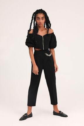 Quzu Kadın  Siyah Zincir Aksesuarlı Yüksel Bel Pantolon 2