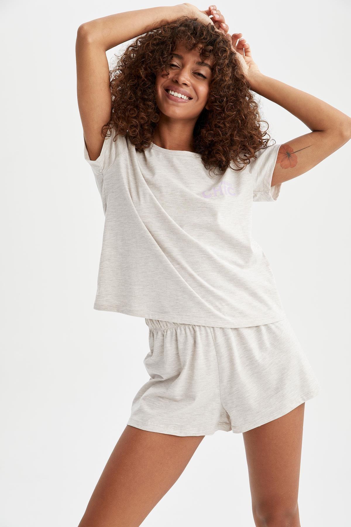 Slogan Baskılı Relax Fit Pijama Takımı