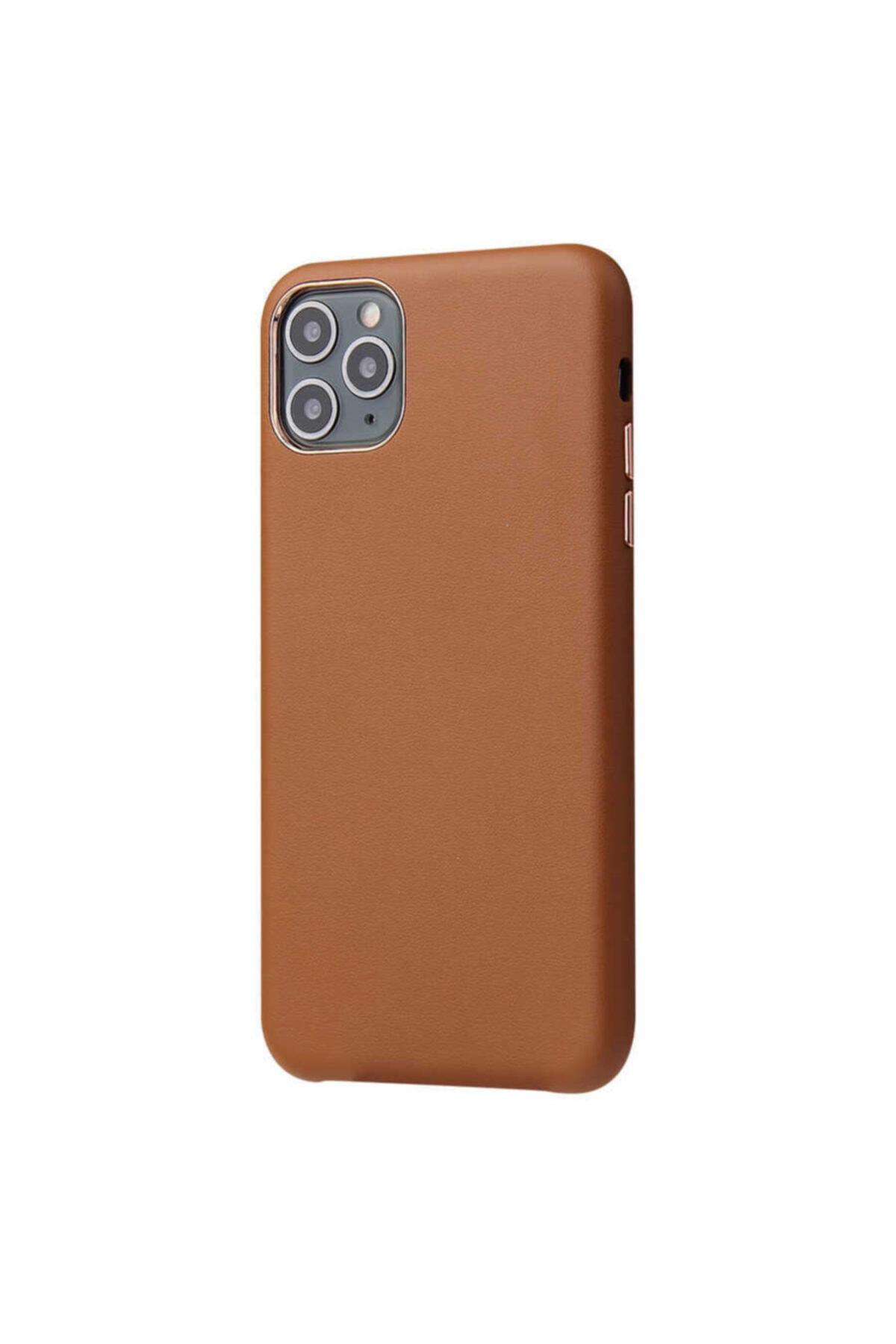 Iphone 11 Pro Max Kılıf Lotus Gerçek Deri Kapak Leather Silikon Koruma Kılıf