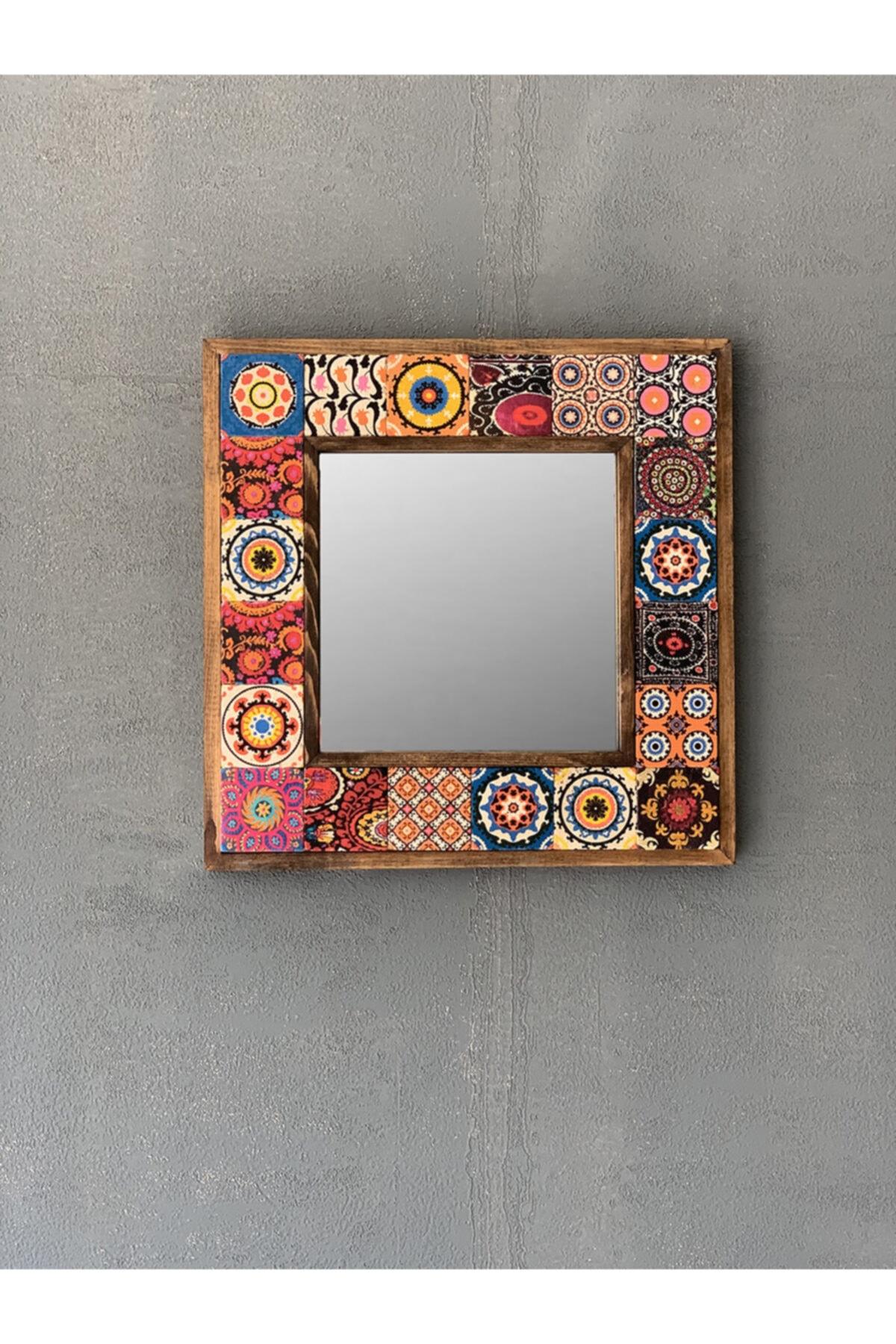 Oscar Stone Ahşap Çerçeveli Mozaik Doğaltaş Ayna 33 Cm X 33 Cm
