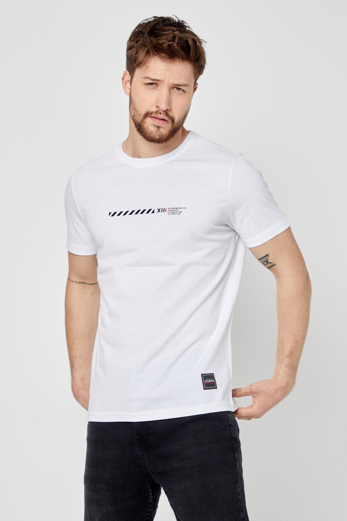Erkek Beyaz Bisiklet Yaka Kısa Kollu Önü Baskılı Basic T-shirt