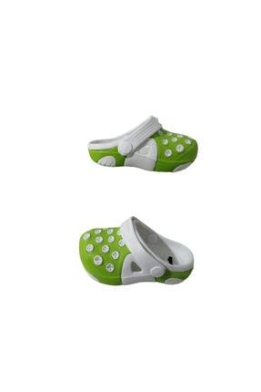 Picture of Ak1987-010 Unisex Bebek Beyaz Yeşil Çift Taban Günlük Yürüyüş Sandalet Terlik