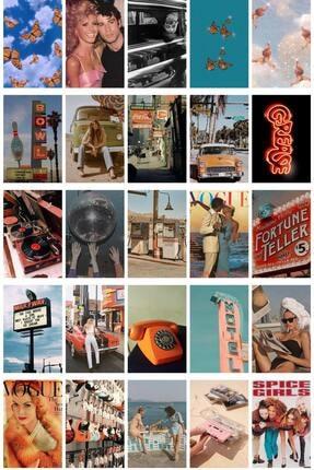 postifull Vintage Poster Seti - Kolaj Set - 100 Adet -retro Poster Seti - 10cm*15cm - Kalın Kağıt - Kutulu Set 4