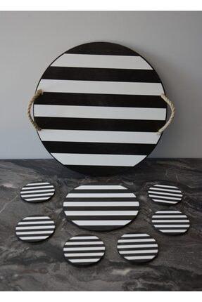 Siyah Beyaz Çizgili Supla Örme Saplı Ahşap Tepsi Seti 6'lı Bardak Altlığı BAKTUG81445