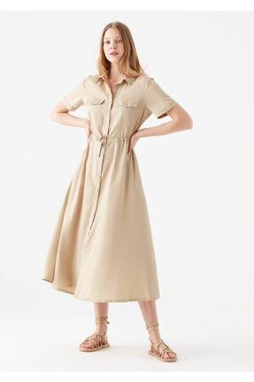 Mavi Düğmeli Bej Elbise 0