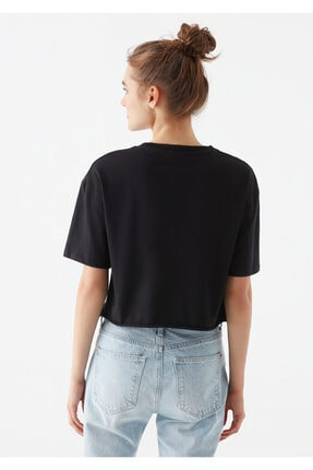 Mavi Siyah Crop Tişört 4