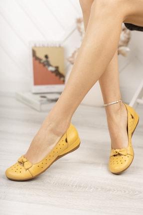 Deripabuc Hakiki Deri Sarı Kadın Deri Babet Trc-2824 2