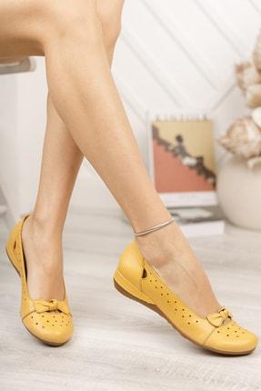 Deripabuc Hakiki Deri Sarı Kadın Deri Babet Trc-2824 4
