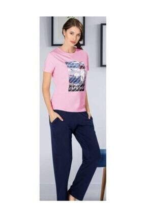 Picture of Kadın Pembe  Kısa Kol Uzun Alt Pijama Takımı
