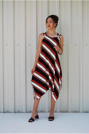 MGS LİFE Kadın Kırmızı Siyah Çapraz Çizgili Toka Detaylı Asimetrik Kesim Elbise 0
