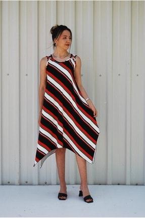 MGS LİFE Kadın Kırmızı Siyah Çapraz Çizgili Toka Detaylı Asimetrik Kesim Elbise 1