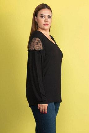 Şans Kadın Siyah Dantel Detaylı Omuz Büzgülü Viskon Bluz 65N24546 1